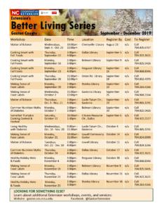 fall 2019 better living series workshops
