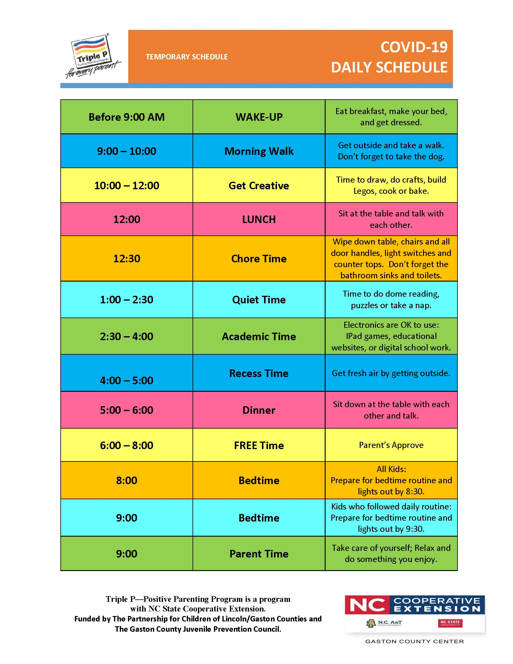 Image of a sample schedule